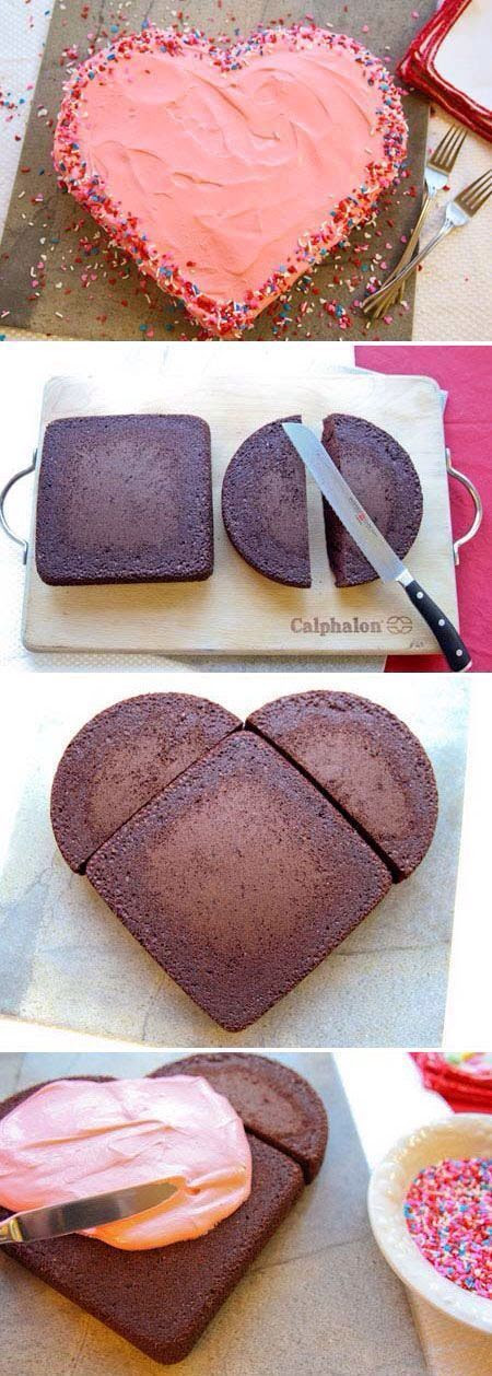 DIY heart shaped cake