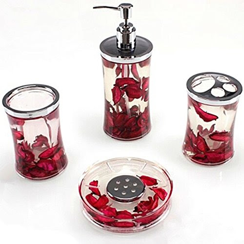 Deals For Ggty 4 Piece Bathroom Accessory Set Red Buy Bathroom
