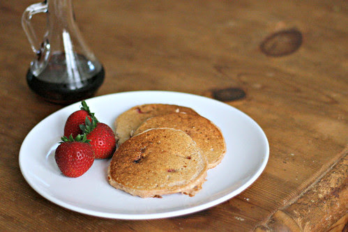 whole wheat strawberry and oat pancakes