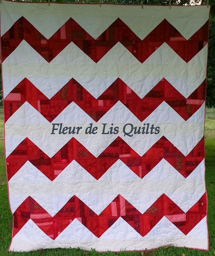 Red and White Chevron Quilt completed Aug. of 2013