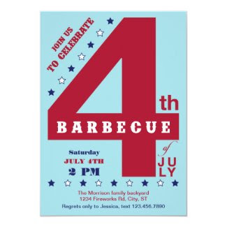 Big Number 4th of July BBQ Invitation