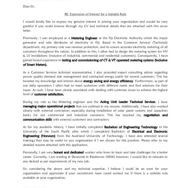 Sample Cover Letter: Cover Letter Expressions