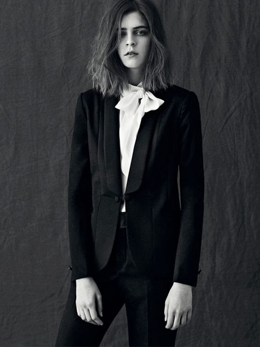 VELVET MAGAZINE KEL MARKEY SHORT MESSY OMBRE HAIR CUT STYLING CELINE WHITE WIDE LEG SUIT PANTS STRUCTURED POCKET SHEER WHITE SHIRT POCKETS PLEATS DOUBLE LAPEL SUIT BOW HIGH NECK COLLAR 2