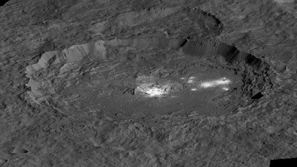 A simulated view of Ceres' Occator Crater...with bright spots indicating salt-rich material in the crater's basin.