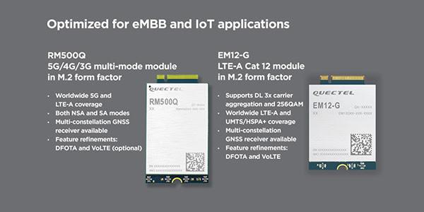 Quectel 5G modules RM500Q and EM12-G