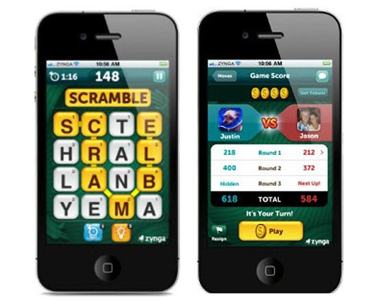 Novo jogo da Zynga, Scramble With Friends