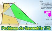 Problema de Geometría 172 (ESL): Trapecio, Puntos Medios de las bases y un lado no paralelo, Cuadrilateros, Áreas.