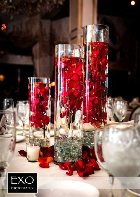 #red flower centerpiece    and they lived happily ever