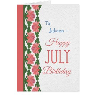 July Birthday Card to Personalize, Water Lilies