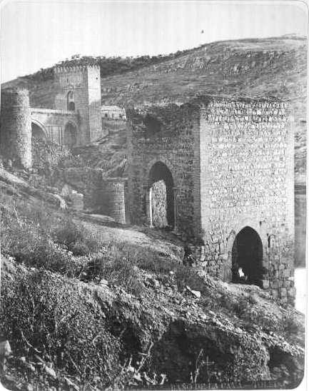 Baño de la Cava y Puente de San Martín en el siglo XIX. Fotografía de Casiano Alguacil