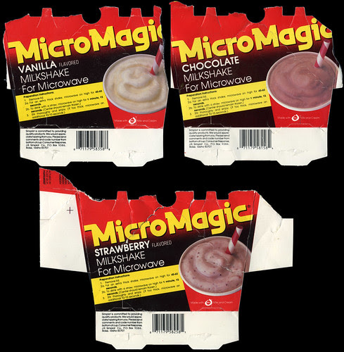 MicroMagic milkshakes - vanilla chocolate strawberry - partial packages - 1980's