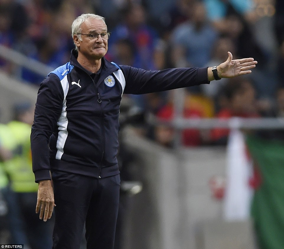 Claudio Ranieri looks to encourage his side back into the game after Leicester were overwhelmed by Barcelona