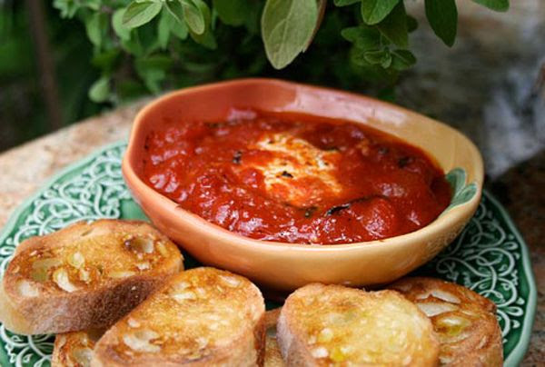 Italian Food Forever » Warm Goat Cheese In Tomato Sauce - easiest appetizer ever that the whole family will love!