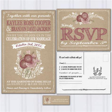 Burlap And Mason Jar Wedding Invitations, Burgundy And