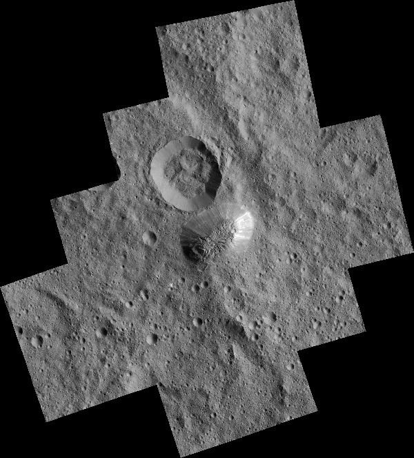 A high-resolution image of Ceres' Ahuna Mons mountain...as seen by NASA's Dawn spacecraft in December of 2015.