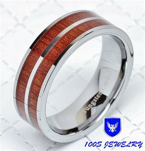 mm mens tungsten carbide wood inlay wedding band