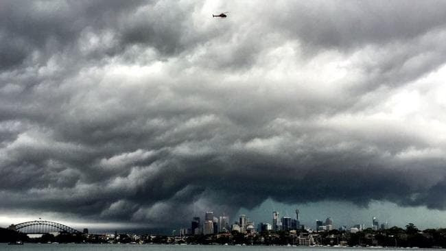 A massive storm front is pictured over Sydney Harbour. Picture: Twitter/Julian Ridden