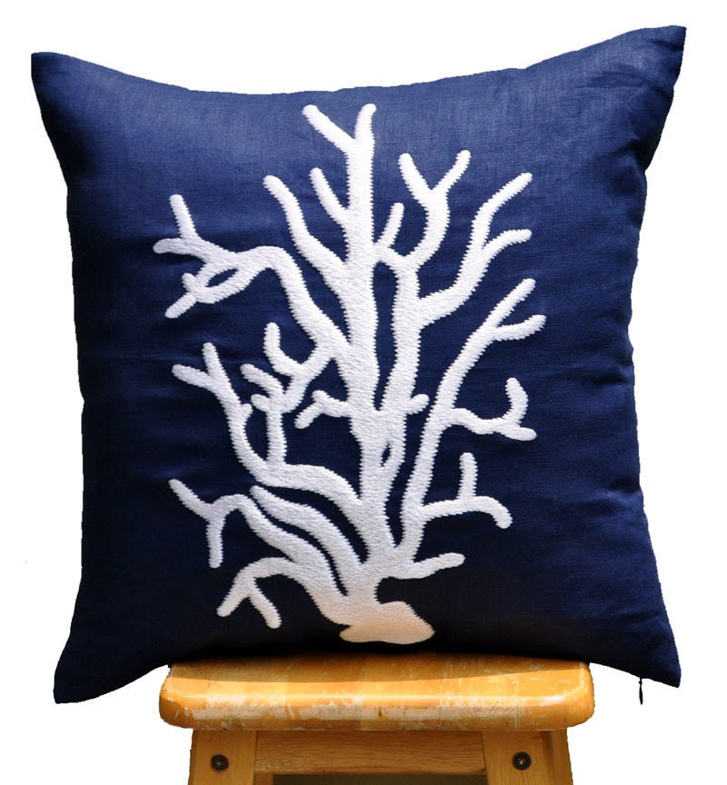 Coral Reef Throw Pillow Cover Navy Decorative Pillow by KainKain