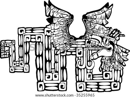 Tattoos Designs Black And White. Mayan Alphabet. stock vector