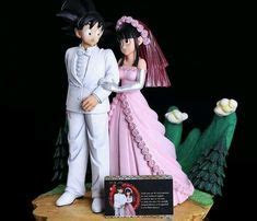 Our cake toppers   Goku and Chi Chi from Dragon Ball Z (my