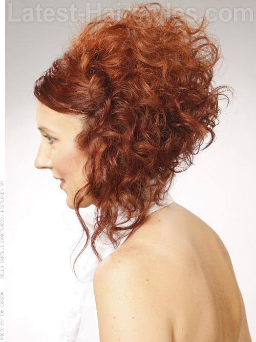Curly Steep Angled Bob Hairstyle Side View