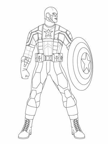 Superhero Avengers Captain America Coloring Page Free Coloring