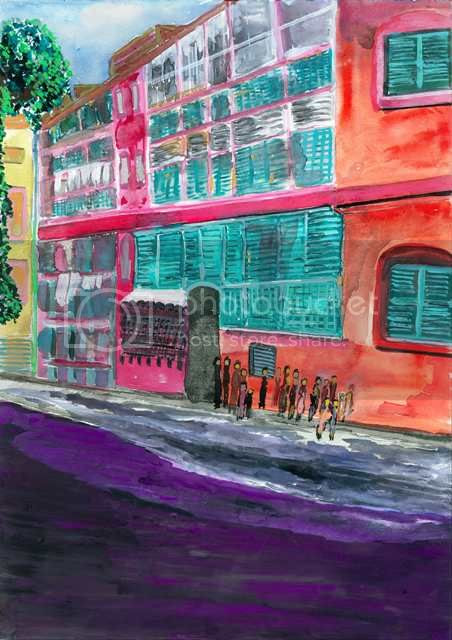 Bow Barracks, Kolkata, India, A Watercolor by Amitabh Mitra