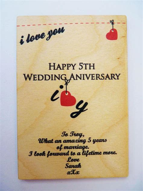 5th Wedding Anniversary Wooden Card ? Personalised Gifts