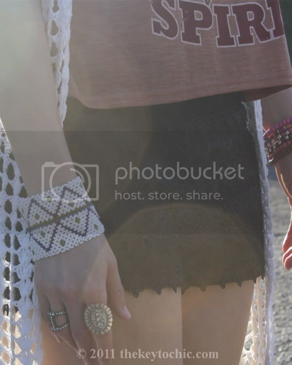 lace crochet shorts, maxi crochet cardigan, beaded bracelets