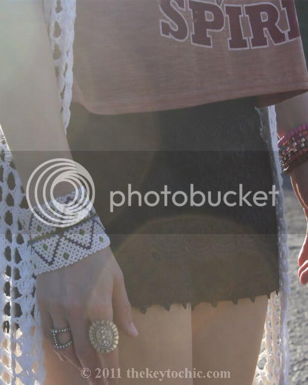 lace crochet shorts, maxi crochet cardigan, beaded bracelets