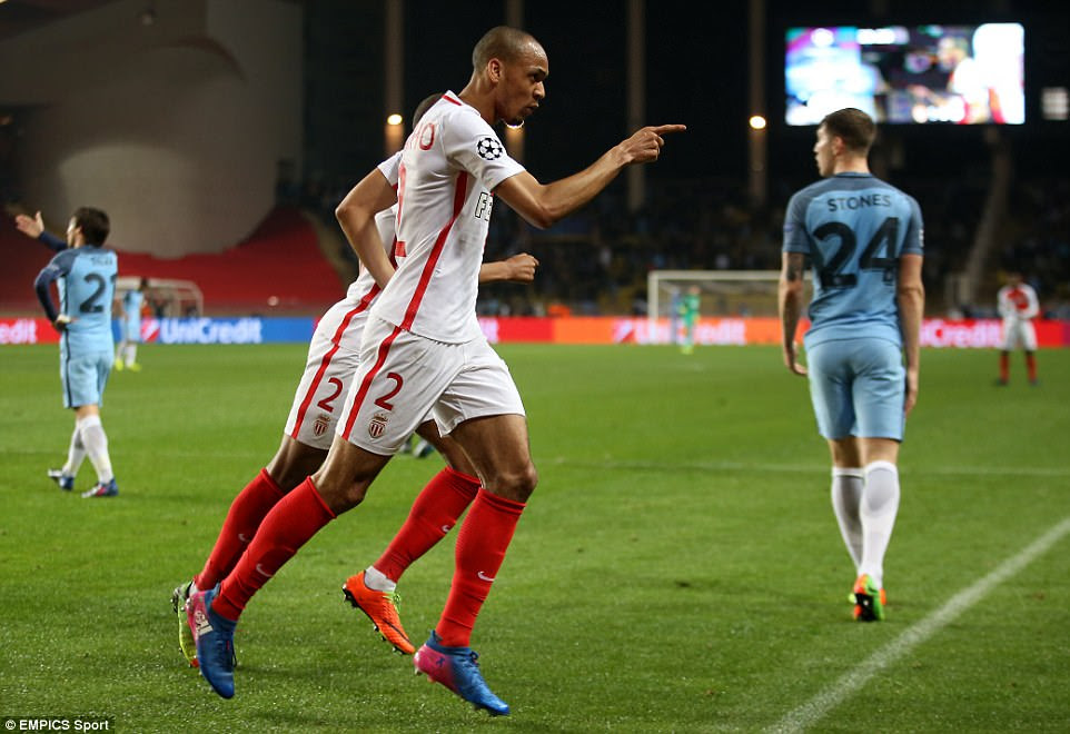 Monaco's 23-year-old midfielder Fabinho did double the lead shortly after though, running to the corner flag in jubilation