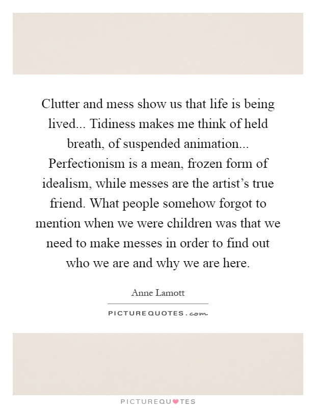 Clutter And Mess Show Us That Life Is Being Lived Tidiness