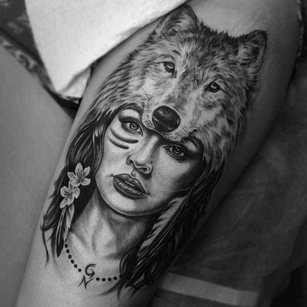 Girl With Wolf Head Tattoo Meaning Animalcarecollegeinfo