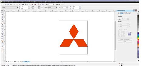 membuat desain logo mitsubishi  corel draw