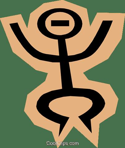 茶色の形状に棒人間 ロイヤリティ無料ベクタークリップアートイラスト