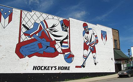 The hockey mural in downtown Eveleth