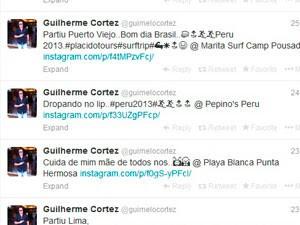 Guilherme Cortez posta mensagens sobre a viagem ao Peru (Foto: Reprodução/Twitter)