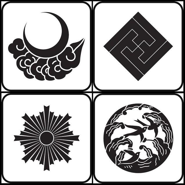 tsukinikumo, sumitatesayagatainazuma, asahiko, naminitsubame (natural - kamon)