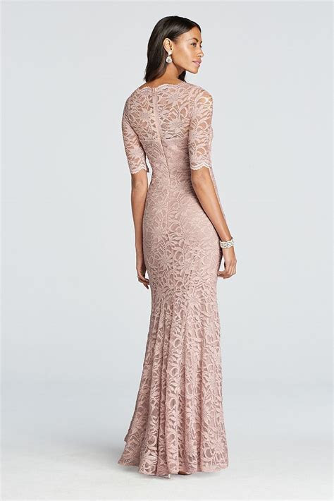 David's Bridal Long All Over Glitter Lace Mermaid Dress