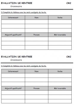 EVALUATION DE RENTREE