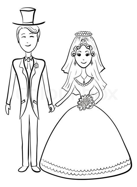 Cartoon, the bride and groom during the wedding ceremony