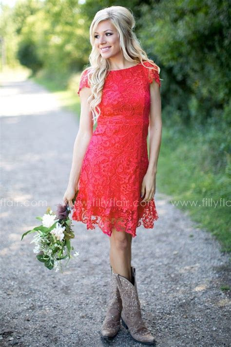 Bridesmaid Red Lace Fit and Flare Mini Dress Bust in Small