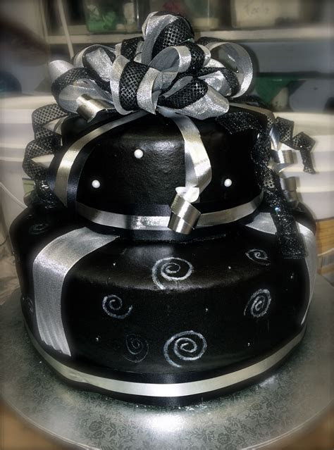 black and silver birthday cake   Annie's cakes   Cake