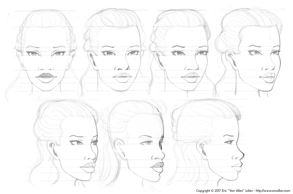 Head turnarounds in pencil of Lauren from WOLF'S HEAD by Von Allan