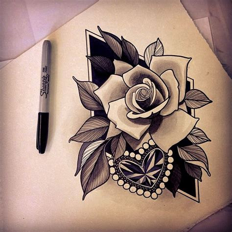 neo traditional rose bud tattoo ideas