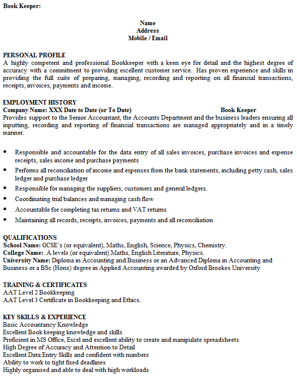 bookkeeper cv example