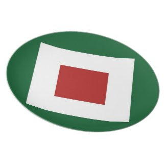 Green, White, Red Diamond Pattern Plates