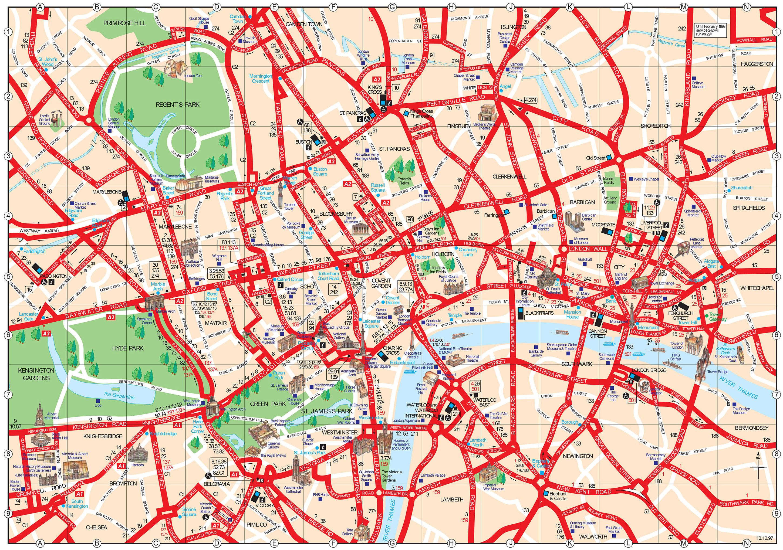 Touristischen karte von London : Sehenswürdigkeiten und Touren