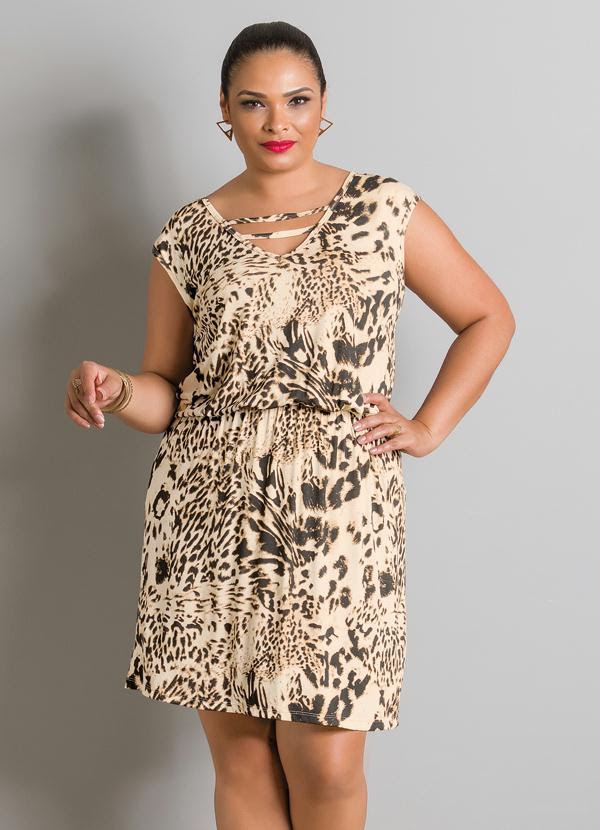Vestido (Animal Print) com Tiras Plus Size