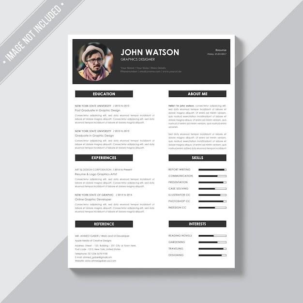 Elegant CV Template Free PSD